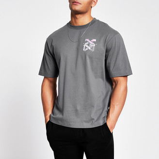 River Island Grey 'New world' printed boxy T-shirt