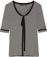 Marc Jacobs Pussy-bow Striped Cotton Sweater - White