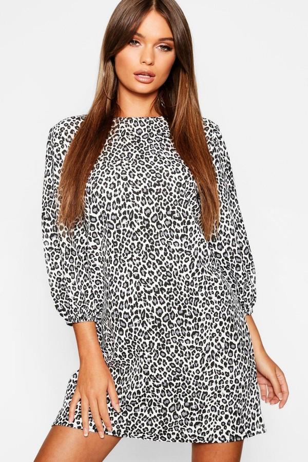 boohoo Balloon Sleeve Leopard Print Shift Dress