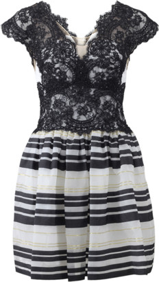 Marchesa Notte Lace Top With Stripe Bottom Dress
