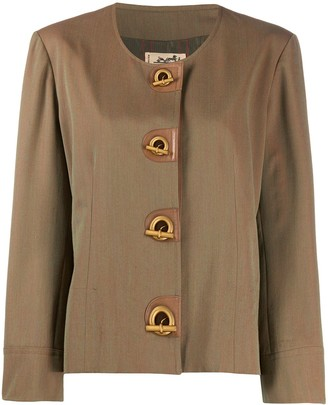 Hermes 1980s Pre-Owned Iridescent Collarless Jacket