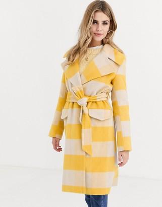 Miss Selfridge longline tailored coat with tie waist in yellow check
