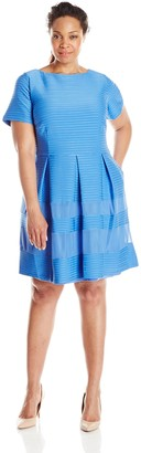 Taylor Dresses Women's Plus-Size Cap Sleeve Solid Fit and Flare Dress with Mesh Insets