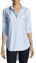 Frank And Eileen Grayson Long-Sleeve Striped Italian Twill, Blue