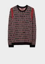 Men's Black 'Code Stripe' Wool-Blend Sweater