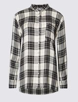 Marks and Spencer Checked Collared Neck Long Sleeve Blouse