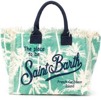 MC2 Saint Barth Palm Tree Logo Print Beach Bag