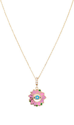 L'Atelier Nawbar Blossoming Eye Enameled 18K Yellow Gold Diamond Necklace