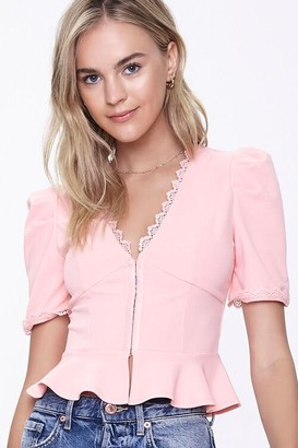 Forever 21 Hook-and-Eye Peplum Top