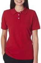7510L UltraClub Ladies' Platinum Honeycomb Piqué Polo (Wine) (2XL)