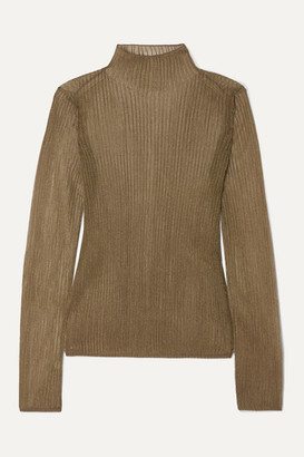 Vince Metallic Ribbed-knit Turtleneck Top - Bronze