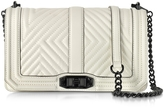 Rebecca Minkoff Antique White Leather Geo Quilted Love Crossbody Bag