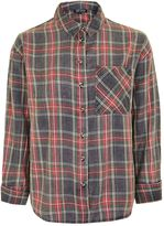 Topshop Washed Tartan Check Shirt