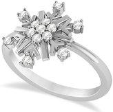 Allurez Women's Prong Set Diamond Snowflake Right-Hand Ring in 14k White Gold .20 carat