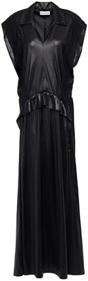 Carven Cutout Coated Paneled Voile Maxi Dress