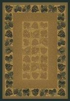 United Weavers of America Genesis Collection Pine Cones Heavyweight Heat Set Olefin Rug, 1-Feet 10-Inch by 3-Feet