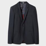 Paul Smith Men's Slim-Fit Dark Grey Muted-Check Cotton And Wool-Blend Blazer