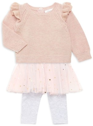 Miniclasix Baby Girl's Sweater Top & Skirted Leggings Two-Piece Set