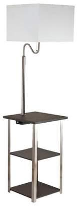 Ore International Dru Square Side Table Floor Lamp Brown
