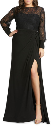 Mac Duggal Plus Size Lace Bodice & Jersey Long-Sleeve Wrap Gown w/ Slit