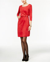 NY Collection Faux-Suede Hardware Sheath Dress