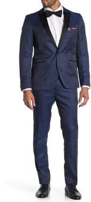 Paisley & Gray Blue Dot One Button Peak Lapel Skinny Fit Tuxedo