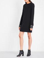 Helmut Lang Leather-cuff crepe mini dress