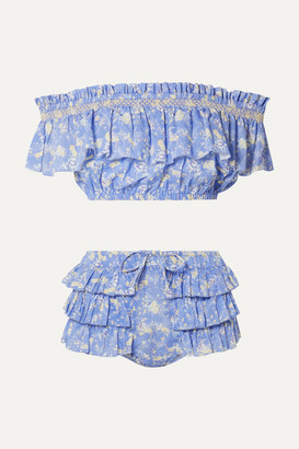 LoveShackFancy Magnolia Off-the-shoulder Ruffled Floral-print Cotton-voile Bikini - Light blue