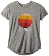 Original Retro Brand The Kids California Sunset Rolled Short Sleeve Tee (Big Kids) (Mocktwist Heather Grey) Girl's Clothing