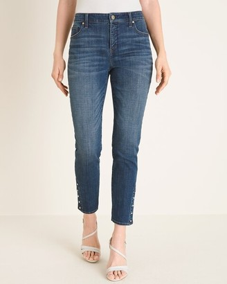 So Slimming Faux-Pearl Girlfriend Ankle Jeans