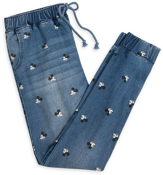 Disney Mickey Mouse Denim Jogger Pants for Juniors
