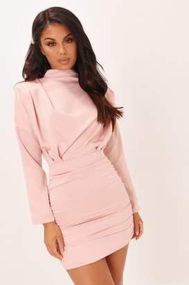 I SAW IT FIRST Blush Pink High Neck Ruched Back Satin Mini Dress