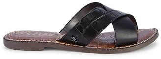 Sam Edelman Gillian Crocodile-Embossed Leather Slide Sandals