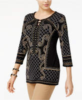 JM Collection Studded 3/4-Sleeve Tunic, Created for Macy's
