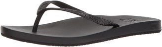 Reef Women's Sandals Cushion Bounce Stargazer | Glitter Flip Flops for Women with Cushion Bounce Footbed | Black | Size 7