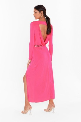 Nasty Gal Womens Cowl You Back Later Slinky Midi Dress - Hot Pink