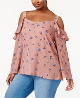 ING Trendy Plus Size Floral-Print Off-The-Shoulder Top