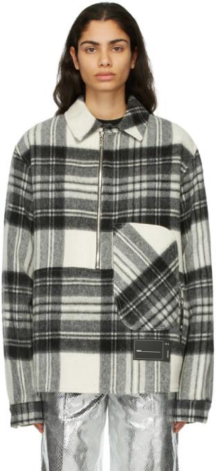 we11done Grey Wool Plaid Anorak Jacket