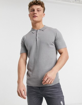 Brave Soul knitted polo shirt in silver grey