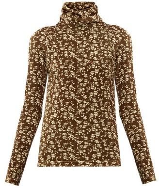 Dodo Bar Or Brenda Roll-neck Floral-print Velour Sweater - Khaki Multi
