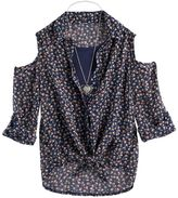 Knitworks Girls 7-16 Cold Shoulder Tie Front Top with Necklace
