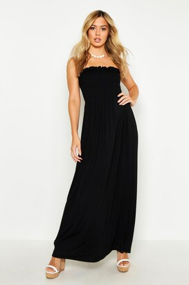 boohoo Petite Shirred Bandeau Maxi Dress