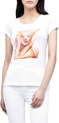 L'Agence Cory Marilyn Monroe Graphic Scoop-Neck Tee