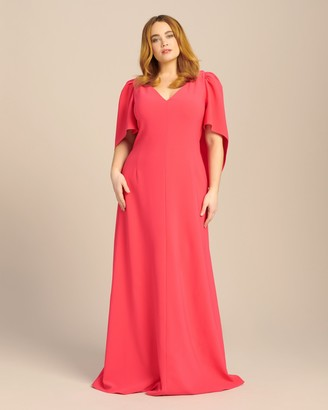 Carolina Herrera V-Neck Gown with Cape and Open Back