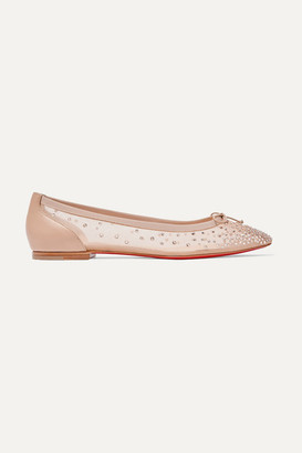 Christian Louboutin Patio Crystal-embellished Mesh And Leather Ballet Flats - Neutral