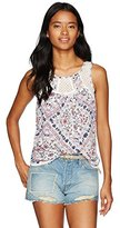 Jolt Women's Ladder Trim Woven Top in Printed Rayon Gauze