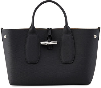 Longchamp Roseau Medium Leather Top-Handle Tote Bag with Shoulder Strap