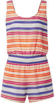 Stella McCartney Striped Cotton And Silk-blend Voile Playsuit - Orange