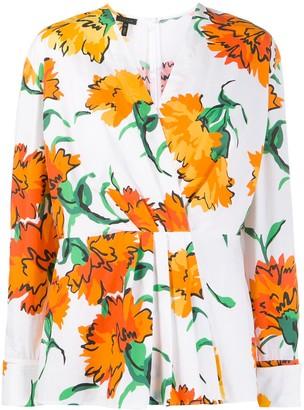 Escada floral-print wrap-style blouse
