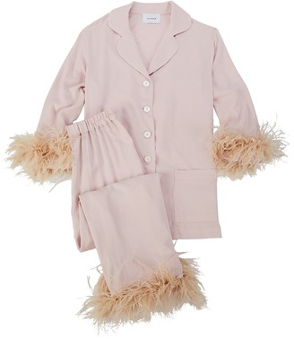 Sleeper Feather-Trimmed Party Pajama Set